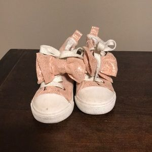 Pink Sparkly Toddler Sneakers with zip side